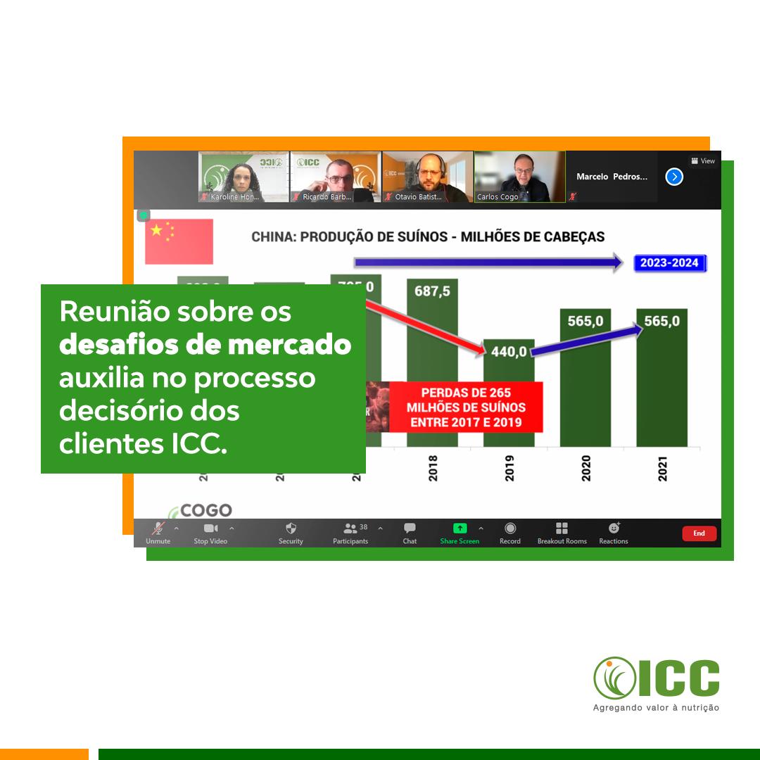 Cenários para insumos de rações, estratégias de comercialização e a pecuária nacional foram temas tratados em evento exclusivo da ICC Brazil
